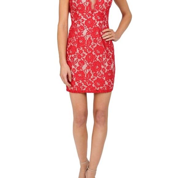 Aidan Mattox Red Lace Dress Sz 0 Nwt
